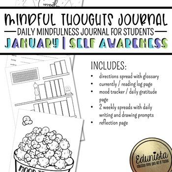 Mindful Thoughts Journal: January/Self Awareness Mindfulness Activities
