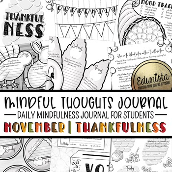 Mindful Thoughts Journal: November/Thanksgiving Mindfulness Activities