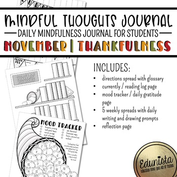 Mindful Thoughts Journal: November/Thankfulness Mindfulness Activities
