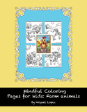 Mindful coloring for kids: Farm animals