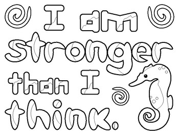 Positive thinking ocean animal colouring sheets