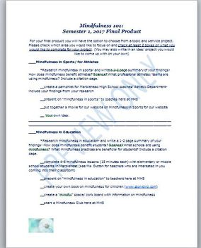 Mindfulness 101 High School Elective Final Product/ Service Project Bundle