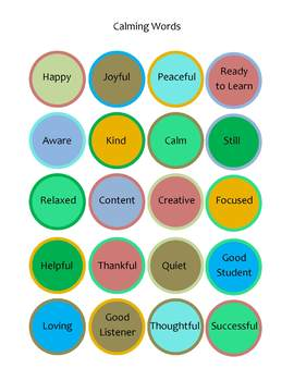 Special education:  Mindfulness Activity-calming words, check-in, and breathing