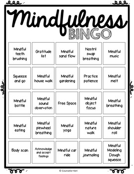 mindfulness bingo game and task cards for school