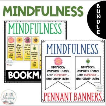 Mindfulness BUNDLE - Pennant Banners + Bookmarks - Mindset - Habits of Mind