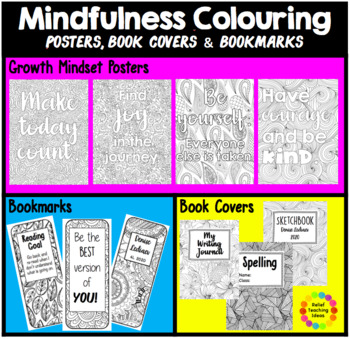 EDITABLE Mindfulness Colouring Bookmarks, Posters and Book Covers