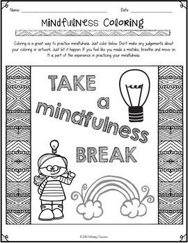 Mindfulness Coloring Freebie by Pathway 2 Success | TpT
