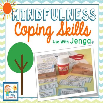 Mindfulness Coping Skills Labels to use with Jenga® Game - Neutral Colors