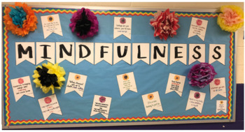 Mindfulness Pennant Banners & Booklist - Mindset- Habits of Mind -Bulletin Board