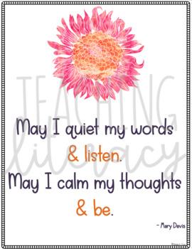 Mindfulness Posters w/a Bonus Mindfulness Booklist - Bulletin Board, Mindset