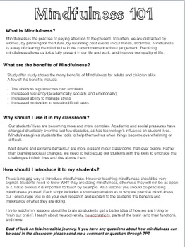 Mindfulness: Scripts for Teachers (Week One)