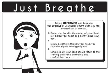 "Mindfulness Poster Strategies Just Breathe 24"" x 36"""