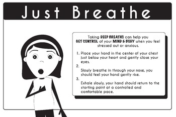 "Mindfulness Poster Strategies Just Breathe 24"" x 36"""