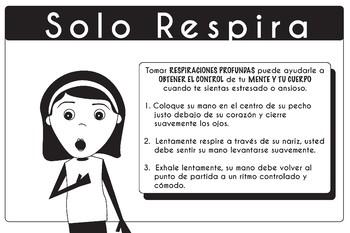 "Spanish Mindfulness Poster Strategies Just Breathe 24"" x 36"""