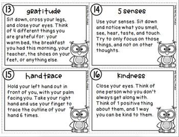 Mindfulness Task Cards