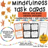 Mindfulness Task Cards / Brain Breaks / Journal - FALL & THANKSGIVING EDITION