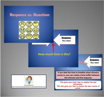 Mindfulness Worksheet & PPT - Response vs. Reaction