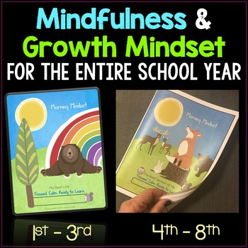 Growth Mindset Activities and Mindfulness Journal Bundle Grades 1-8