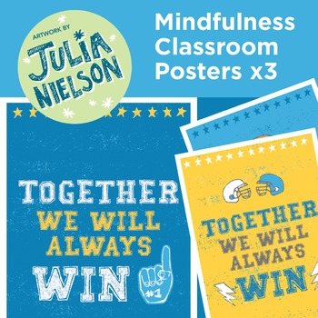 Mindfulness posters x3 - Together we will always win (blue and yellow)