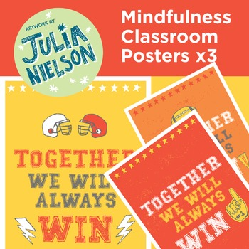 Mindfulness posters x3 - Together we will always win (red
