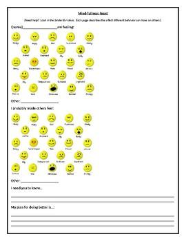Mindfulness student behavior reset sheet