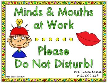 Minds & Mouths at Work - Do Not Disturb - Sign
