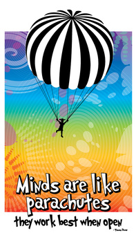 "Minds are like parachutes...8.5"" x 14"""