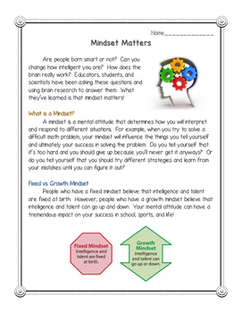 Mindset Matters: Reading Comprehension Passage with CCSS Aligned Questions