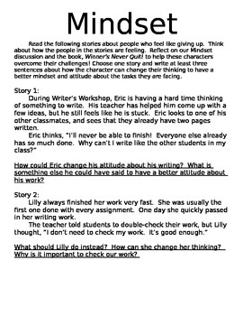 Mindset Writing Prompt
