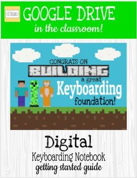 Mine Craft Inspired, Digital Keyboarding Notebook, Keyboar