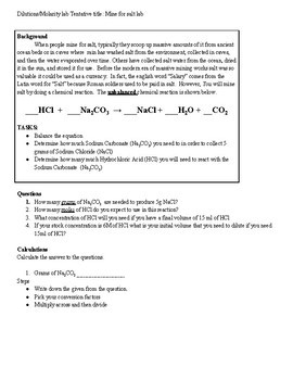 Mine for Salt: Dilutions/Molarity lab