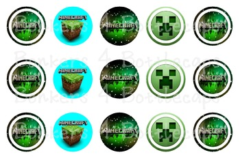 Minecraft - 1 inch circle - Bottlecap Image - Bingo Chips - Counting