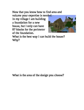 Minecraft Area and perimeter Activity