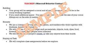 Minecraft Behavior Contract