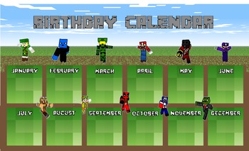 Minecraft Birthday Calendar