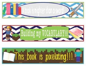 Minecraft Bookmarks, Shelf Markers or Desk Name Plates - EDITABLE
