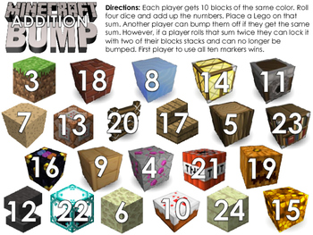 Minecraft Bump - Minecraft themed Addition and Subtraction game