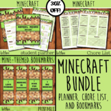 Minecraft Bundle Student Planner, Weekly Chore List AND Bookmarks