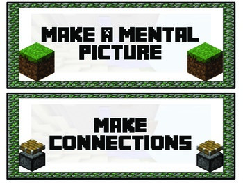 Minecraft CAFE Comprehension Strategy Signs