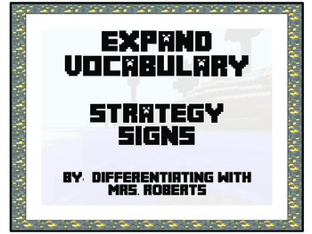 Minecraft CAFE Expand Vocabulary Strategy Signs