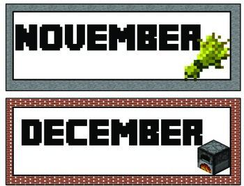 Minecraft Calendar Kit and Deskplates