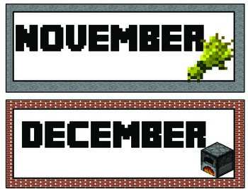 Minecraft Calendar Kit and Deskplates