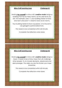 Minecraft Challenge task cards.