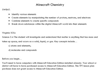 Minecraft Chemistry Tutorial - How-to video, lesson plan, and worksheet