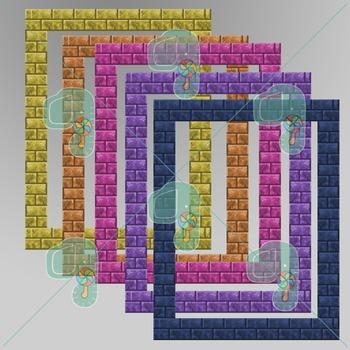 "Minecraft Clip Art- Pixel Craft Brick Frames 8.5"" x 11"""