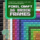 "Minecraft Clip Art- Pixel Craft Brick Frames 8.5"" x 11"""