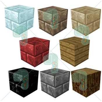 Minecraft Clip art- Pixel Craft Variety Blocks