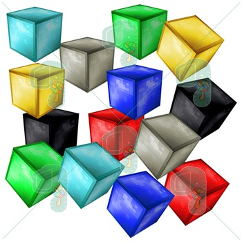 Minecraft Clipart- Pixel Craft Solid Ore Blocks