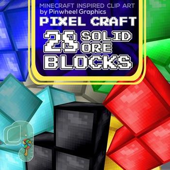 Minecraft Clipart- Pixel Craft Solid Ore Blocks