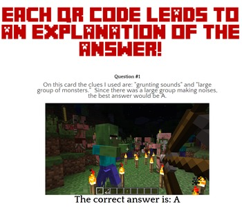 Minecraft Context Clues QR Task Cards - Explanations & MUCH MORE Included- CCSS